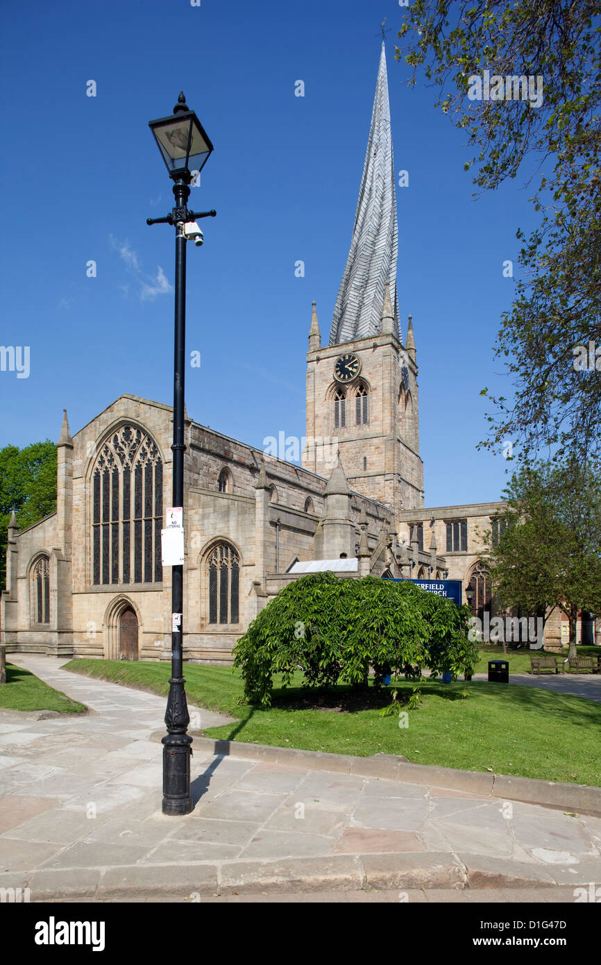 The crooked spire of St. Mary and All Saints Church, Chesterfield, Derbyshire, England, United Kingdom, Europe - Stock Image