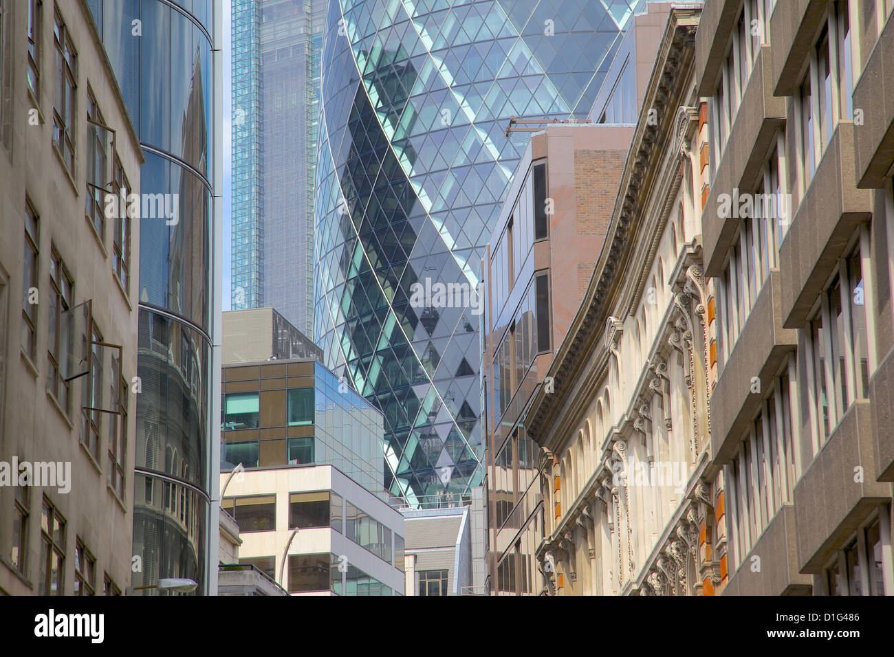 The Gherkin (Swiss Re Building), City of London, London, England, United Kingdom, Europe - Stock Image