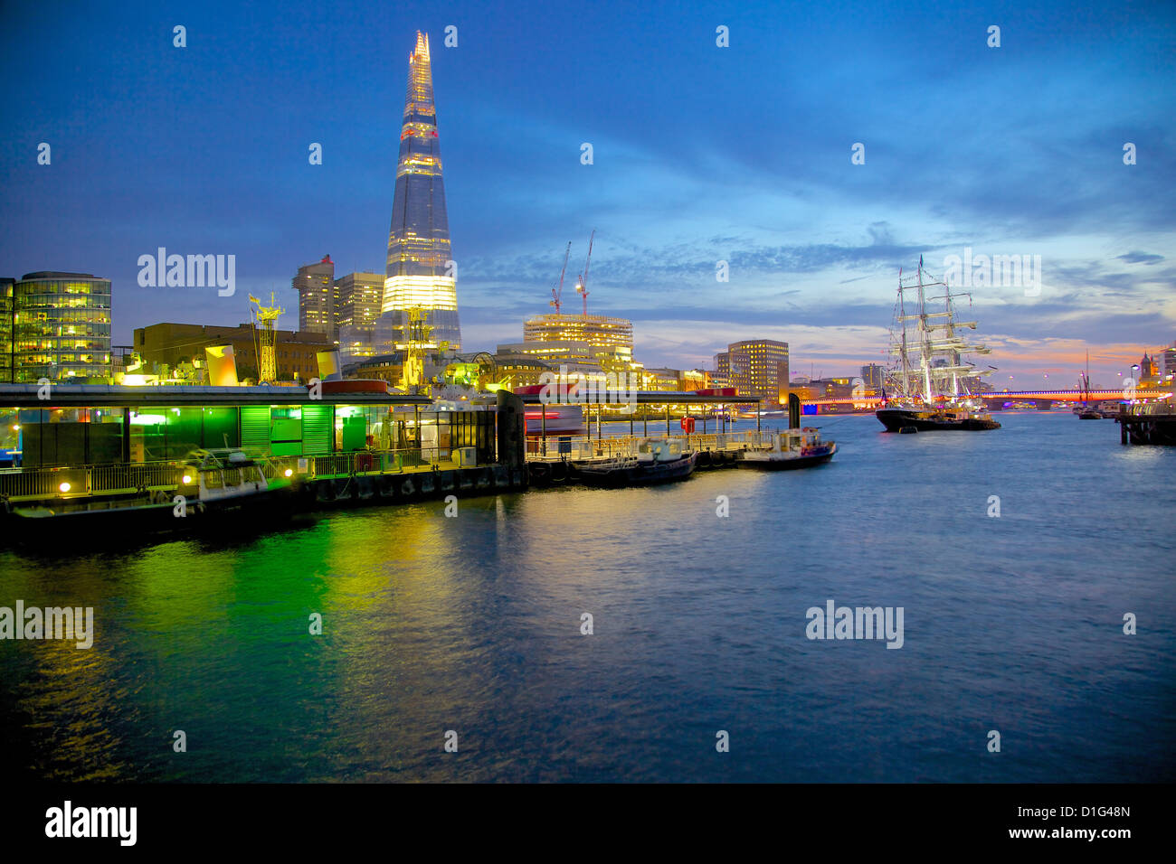 The Shard and River Thames from City of London, London, England, United Kingdom,  Europe - Stock Image