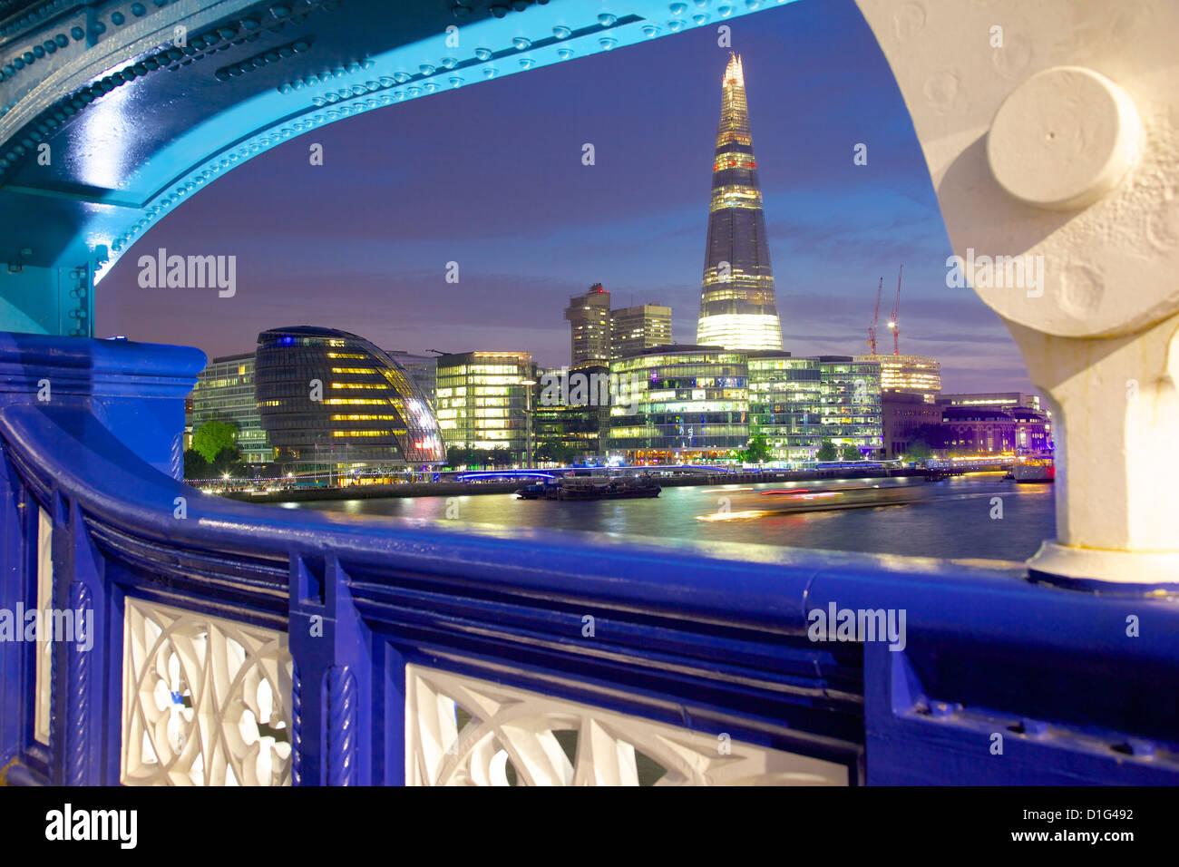The Shard from Tower Bridge at dusk, London, England, United Kingdom, Europe - Stock Image