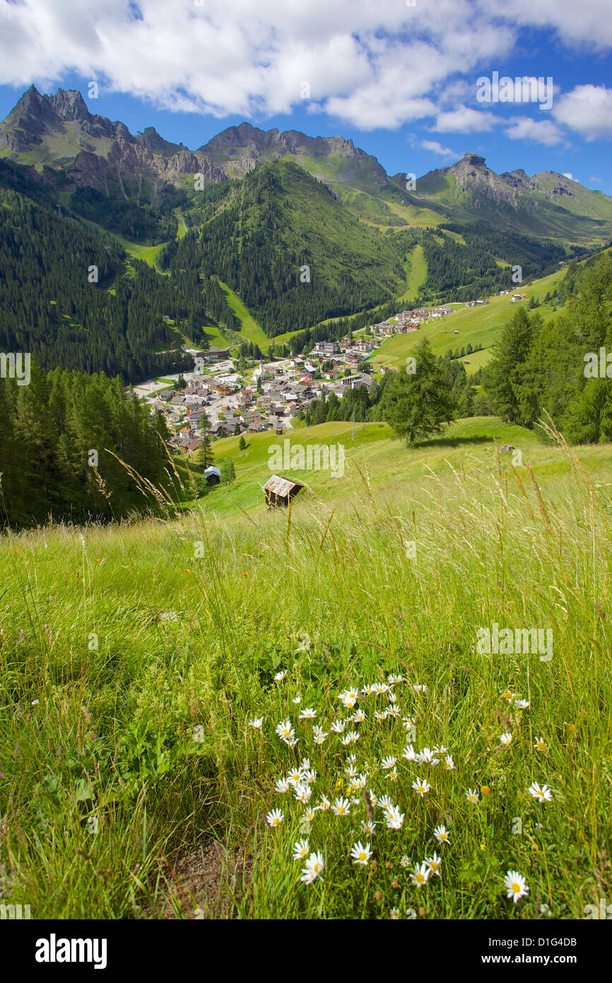 View over town, Arabba, Belluno Province, Trento, Dolomites, Italy, Europe - Stock Image