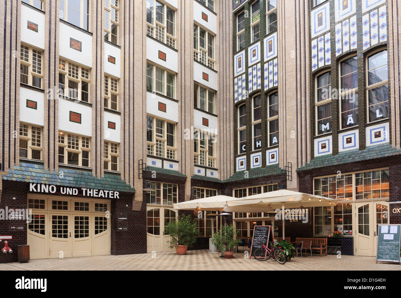 New theatre and restaurant in one of the historic courtyards of Hackesche Hofe in former east Berlin, Germany - Stock Image