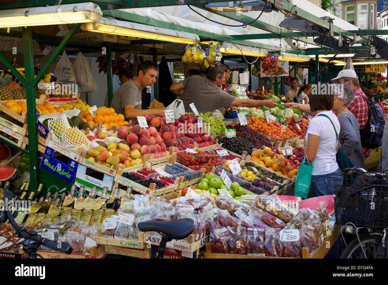 Market stall, Piazza Erbe Market, Bolzano, Bolzano Province, Trentino-Alto Adige, Italy, Europe - Stock Image