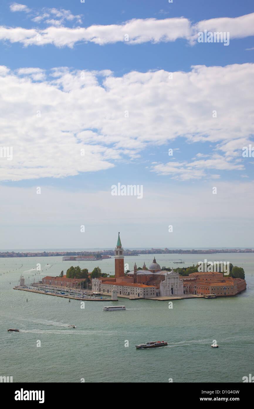 View of Isle of San Giorgio Maggiore from Basilica San Marco from Campanile, Venice, Veneto, Italy, Europe - Stock Image