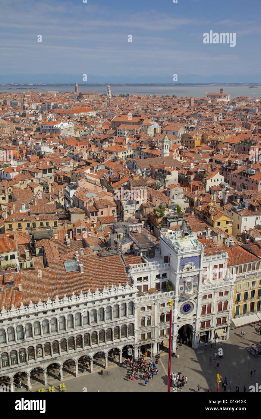 View from Campanile, Piazza San Marco, Venice, UNESCO World Heritage Site, Veneto, Italy, Europe - Stock Image
