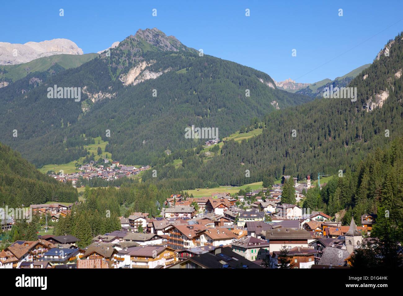 View over town, Canazei, Trentino-Alto Adige, Italy, Europe - Stock Image