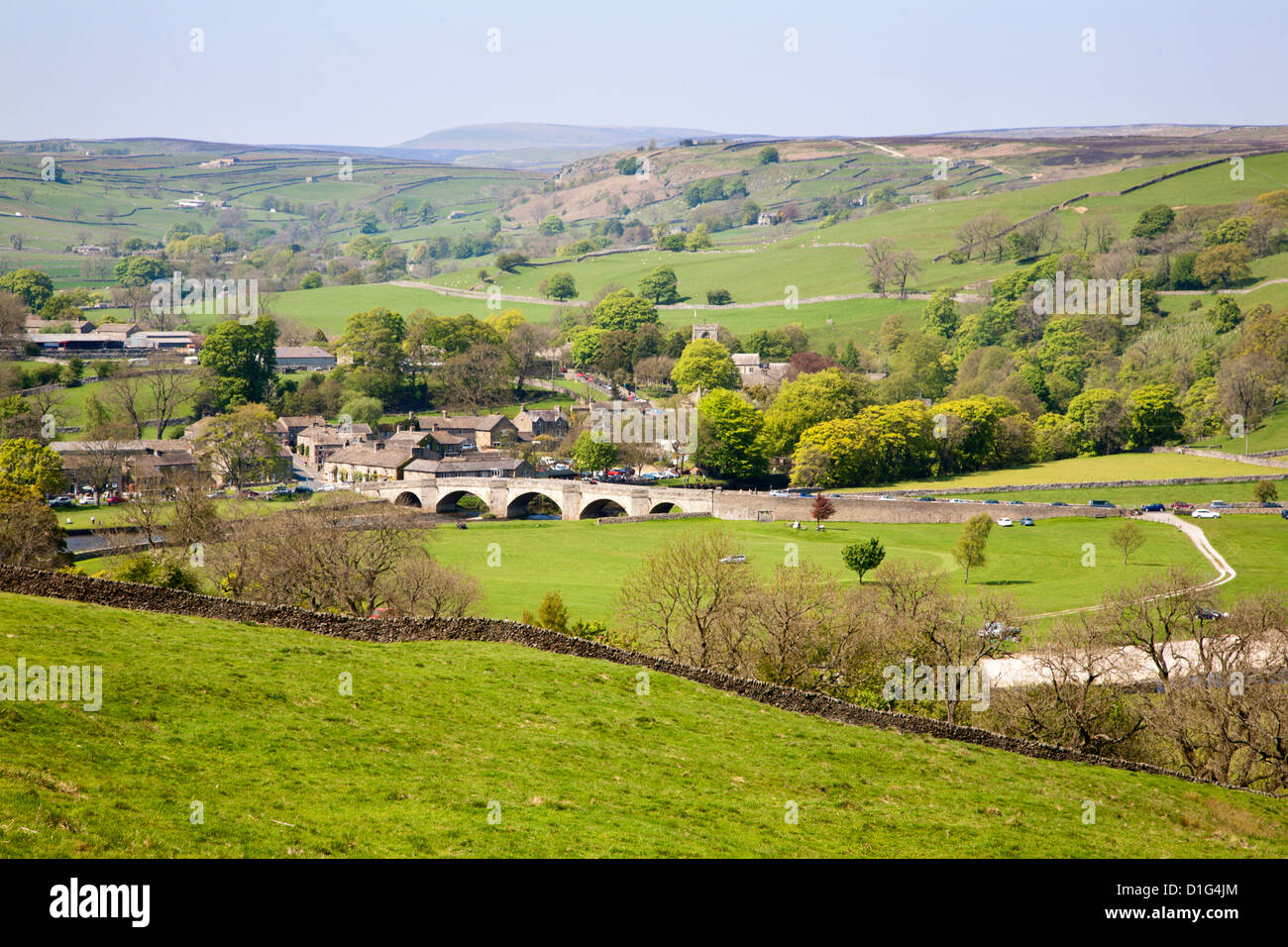 Village of Burnsall in Wharfedale, Yorkshire Dales, Yorkshire, England, United Kingdom, Europe - Stock Image