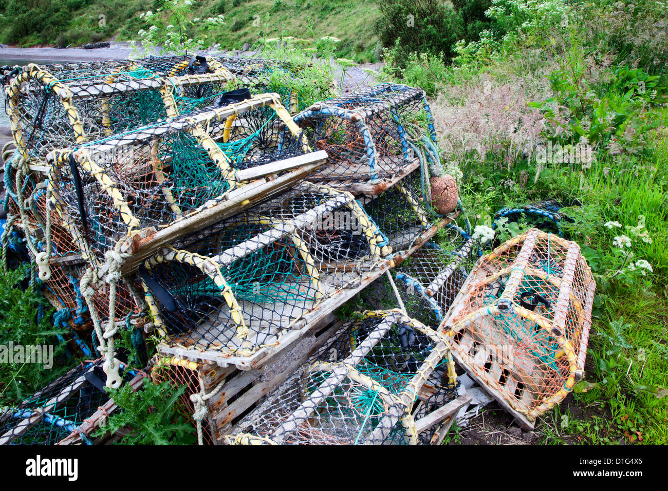 Old lobster pots at Catterline, Aberdeenshire, Scotland, United Kingdom, europe - Stock Image