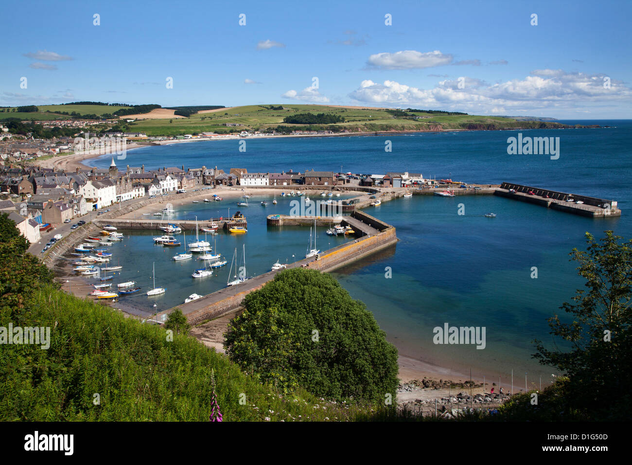 Stonehaven Harbour from Harbour View, Stonehaven, Aberdeenshire, Scotland, United Kingdom, Europe - Stock Image