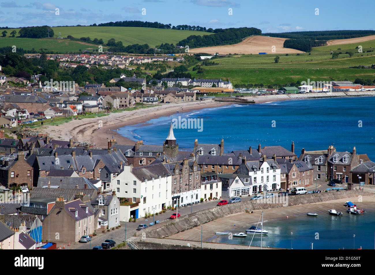 Stonehaven Bay and Quayside from Harbour View, Stonehaven, Aberdeenshire, Scotland, United Kingdom, Europe - Stock Image