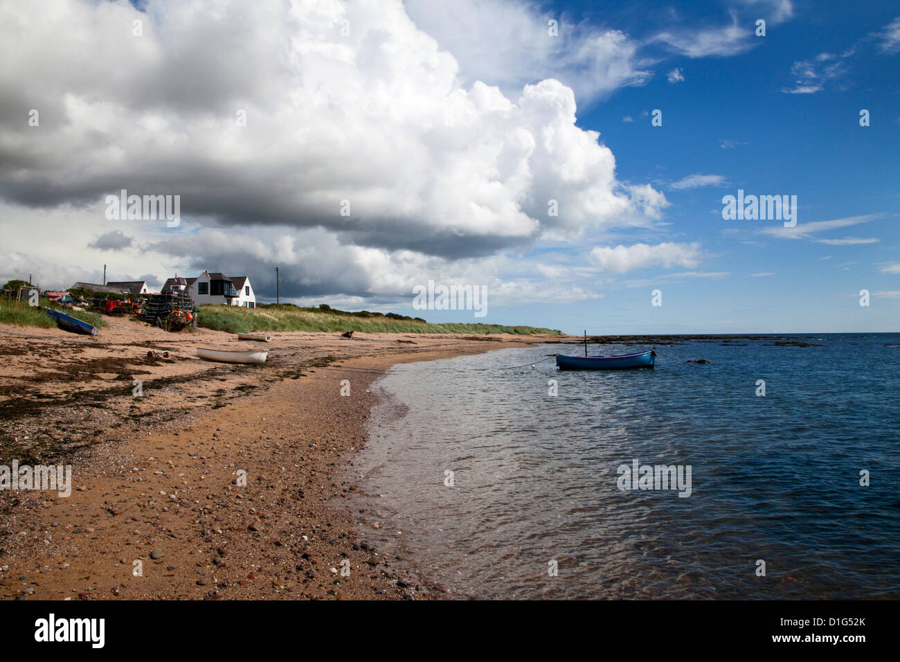 Fishing boats on the beach at Carnoustie, Angus, Scotland, United Kingdom, Europe - Stock Image