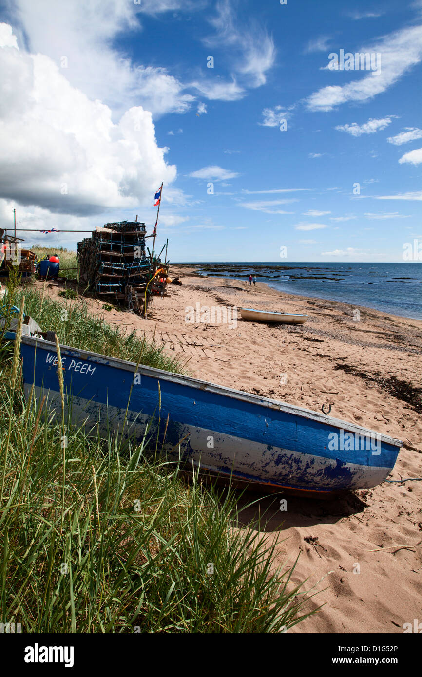 Fishing boat on the beach at Carnoustie, Angus, Scotland, United Kingdom, Europe - Stock Image