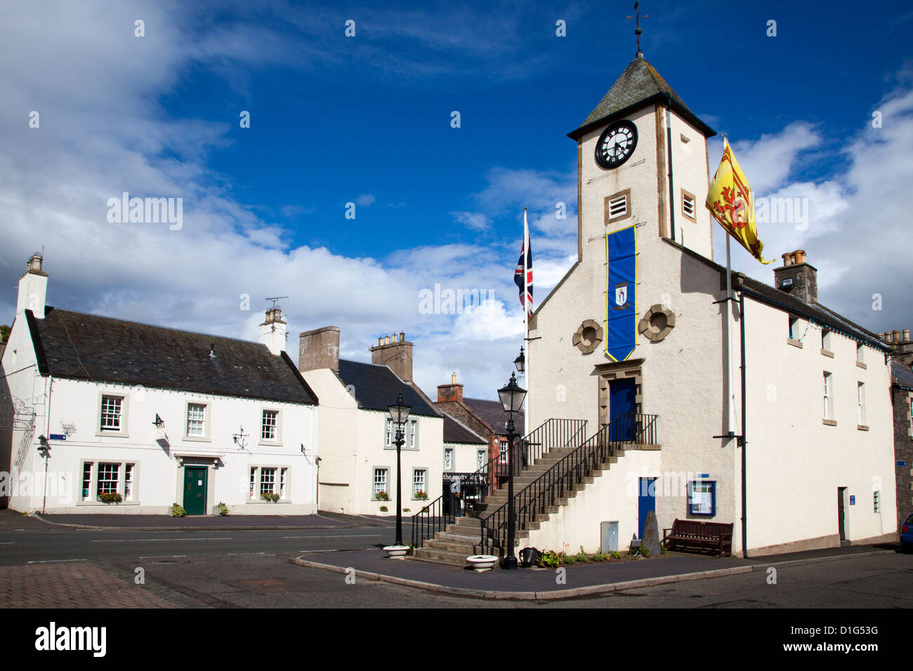 The Town Hall, former Tollbooth, in the Market Place at Lauder, Scottish Borders, Scotland, United Kingdom, Europe - Stock Image