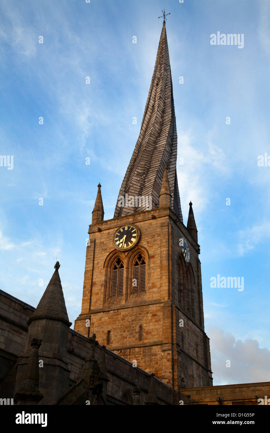 The Crooked Spire at the Parish Church of St. Mary and All Saints, Chesterfield, Derbyshire, England, United Kingdom, - Stock Image