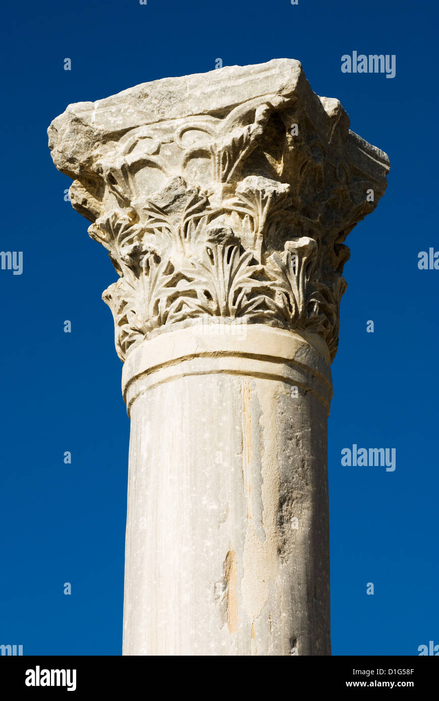 Classical column, Kourion (Curium), Limassol, Cyprus, Europe - Stock Image
