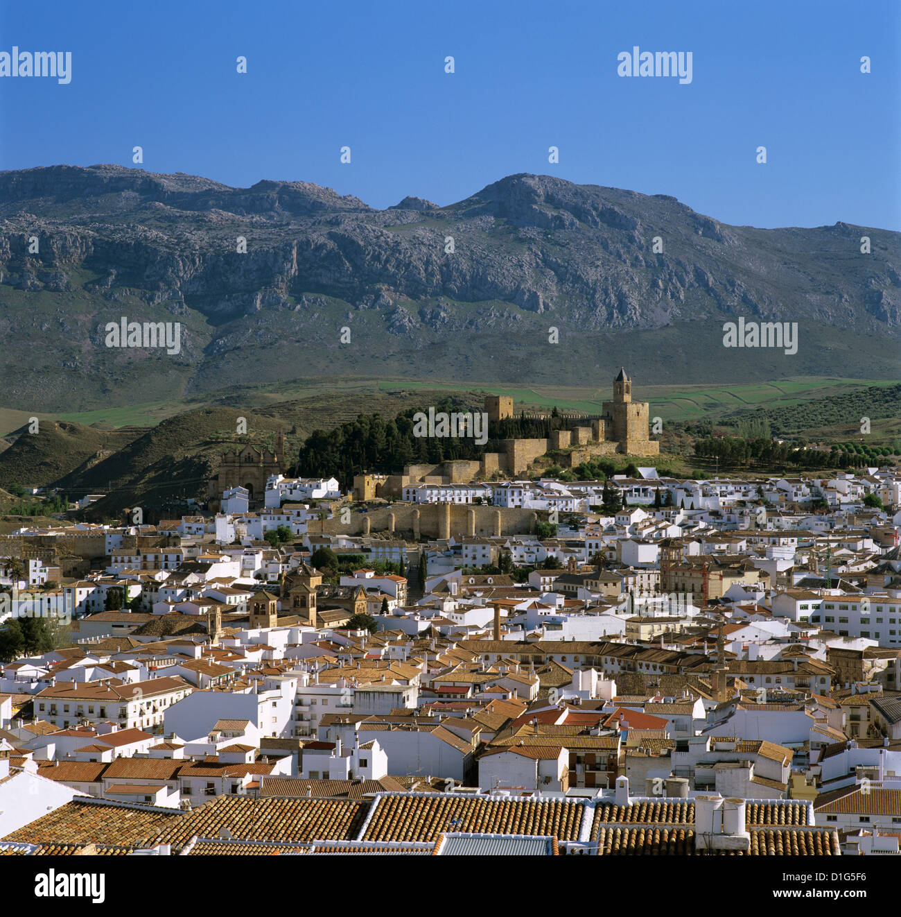 Alcazaba and old town, Antequera, Andalucia, Spain, Europe - Stock Image