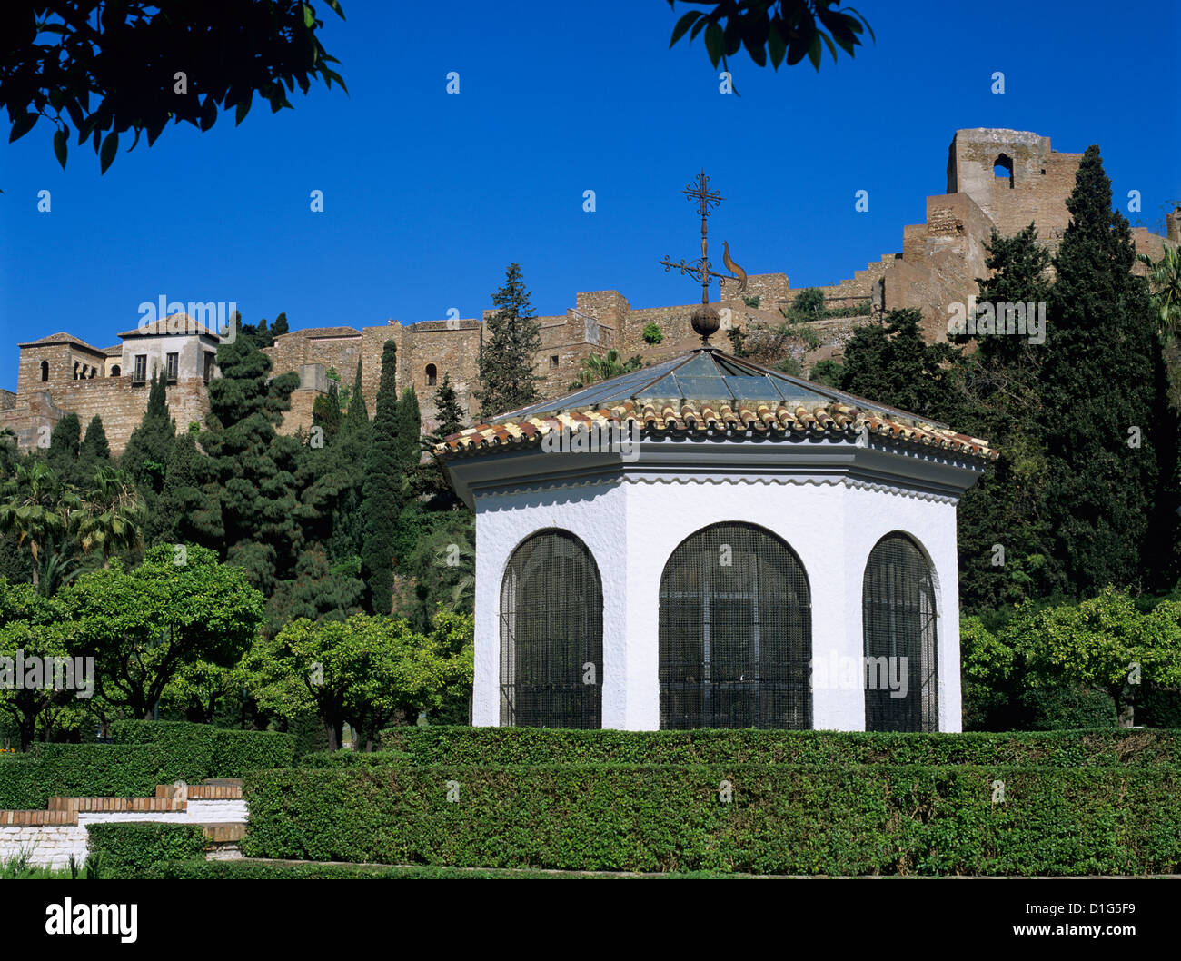 Alcazaba viewed from gardens, Malaga, Andalucia, Spain, Europe - Stock Image