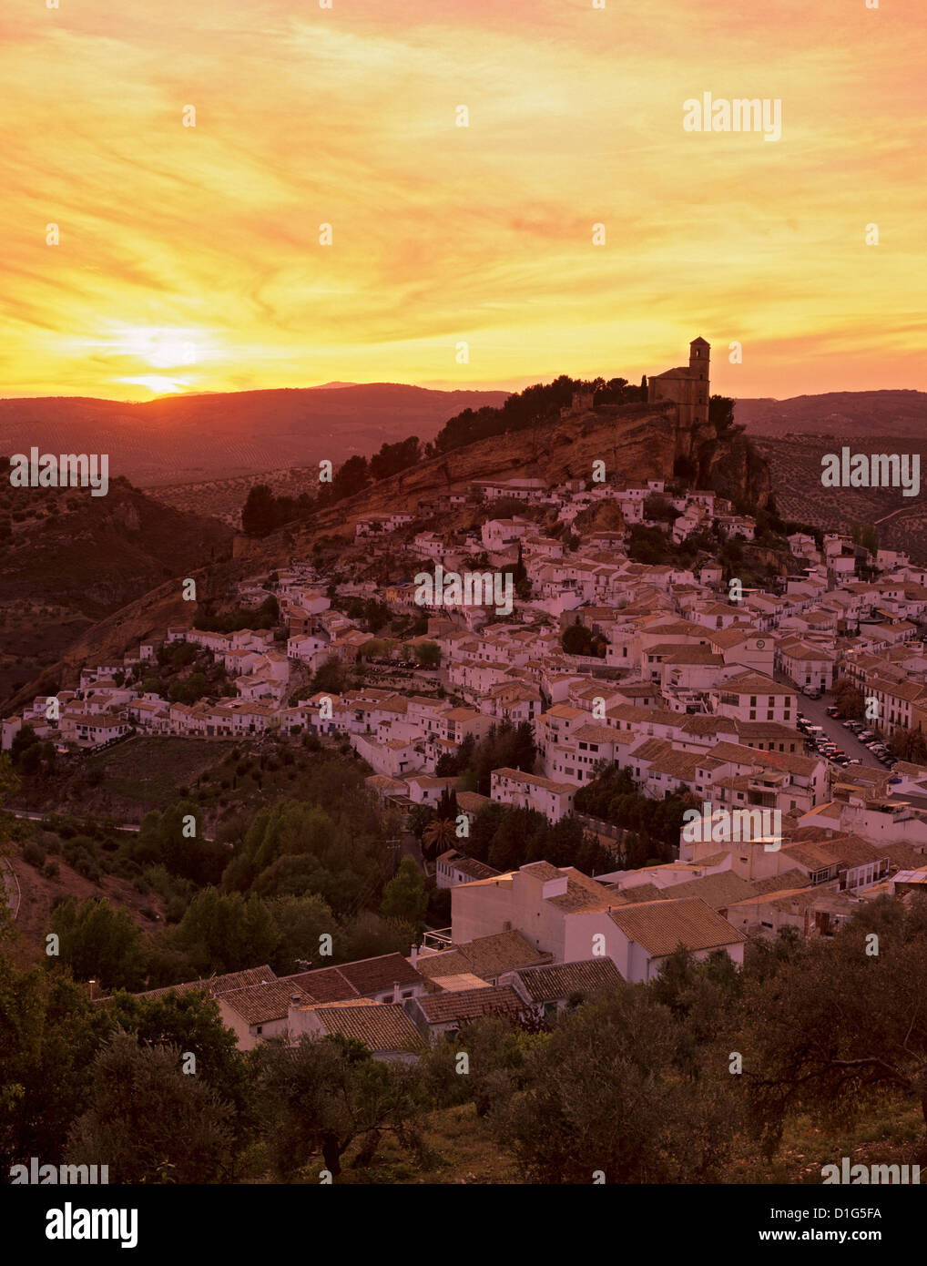 Sunset over white village, Montefrio, Andalucia, Spain, Europe - Stock Image