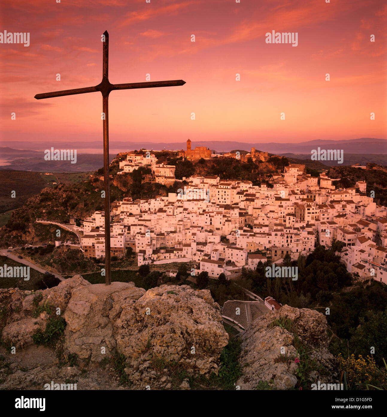 Sunrise over typical white Andalucian village, Casares, Andalucia, Spain, Europe - Stock Image