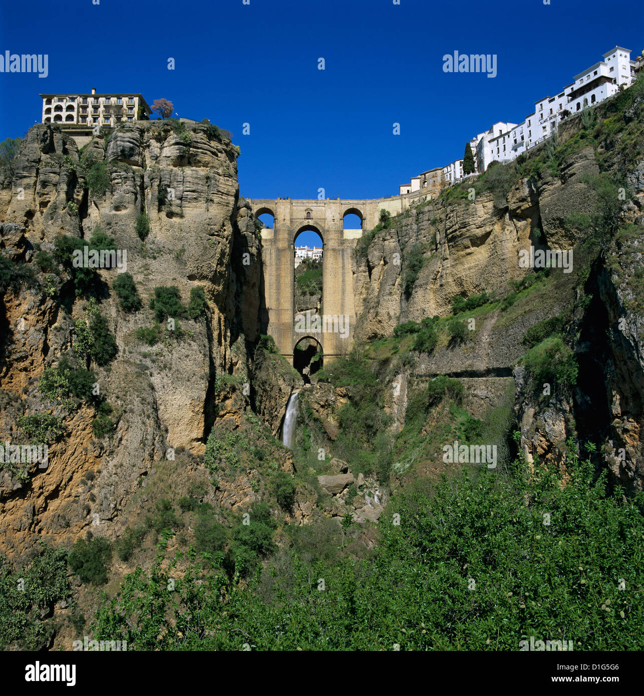 Old town and Puente Nuevo, Ronda, Andalucia, Spain, Europe - Stock Image