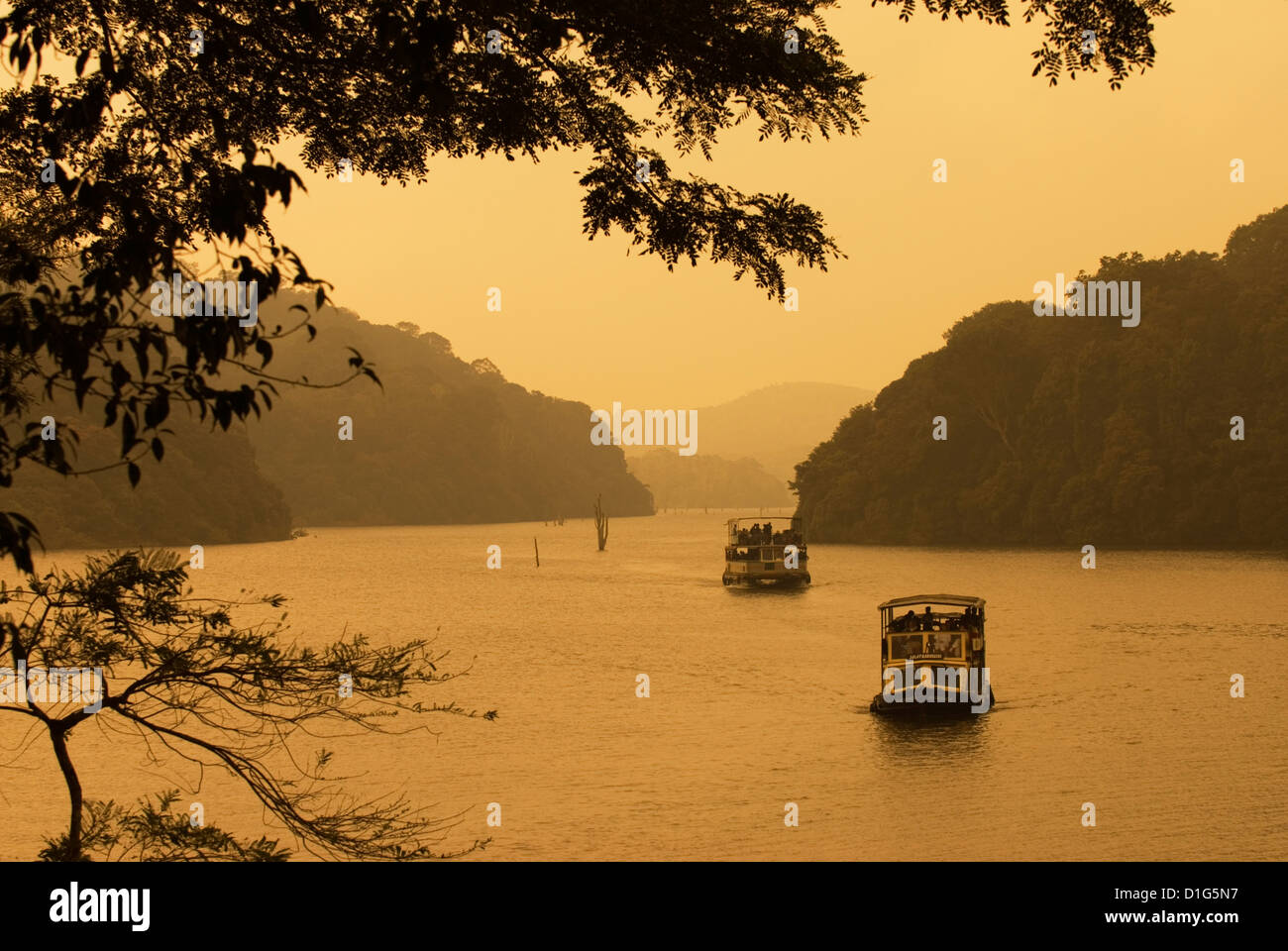 Tour boats cruising on lake, Lake Periyar, Kerala, India, Asia - Stock Image