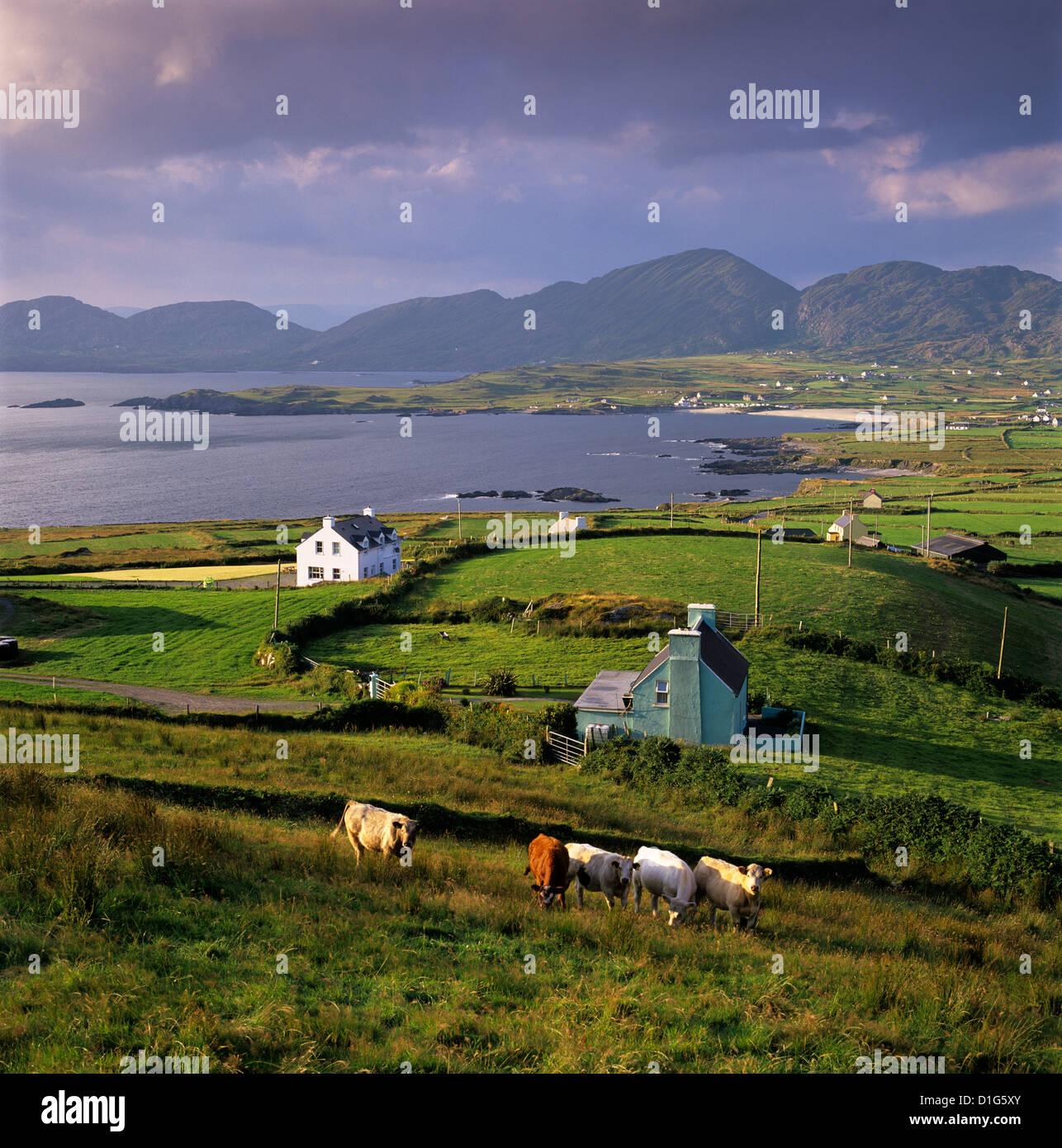 View over Allihies and Ballydonegan Bay, Beara Peninsula, County Cork, Munster, Republic of  Ireland, Europe - Stock Image