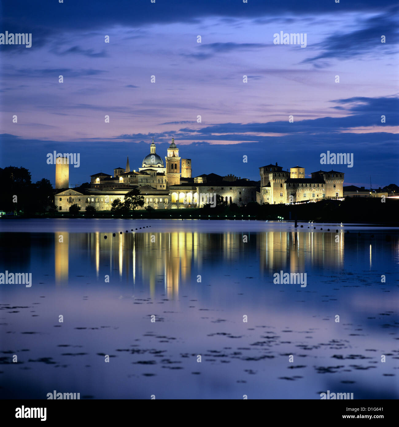 Dusk over the old town and Lake Inferiore, Mantua, Lombardy, Italy, Europe Stock Photo