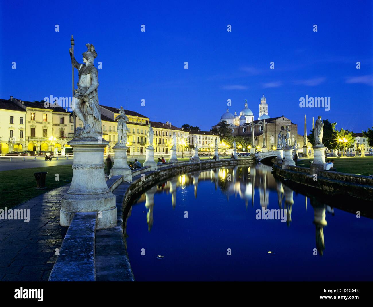 Prato della Valle and Santa Giustina at night, Padua, Veneto, Italy, Europe - Stock Image