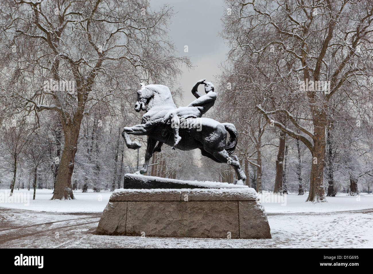 Physical Energy statue in winter, Kensington Gardens, London, England, United Kingdom, Europe - Stock Image