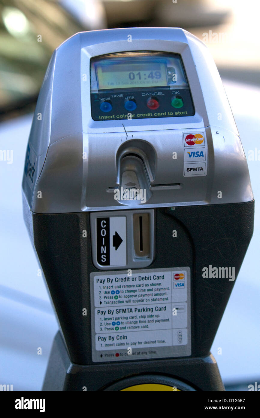 Parking meter that accepts credit cards for payment in San Francisco, California, USA. - Stock Image