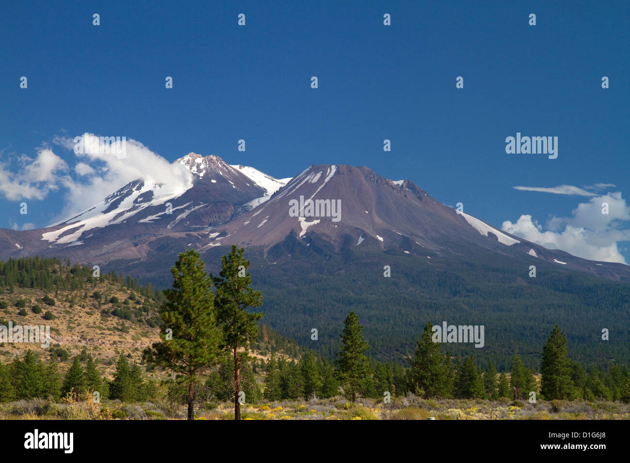 Mount Shasta north facing side located in Siskiyou County, California, USA. - Stock Image