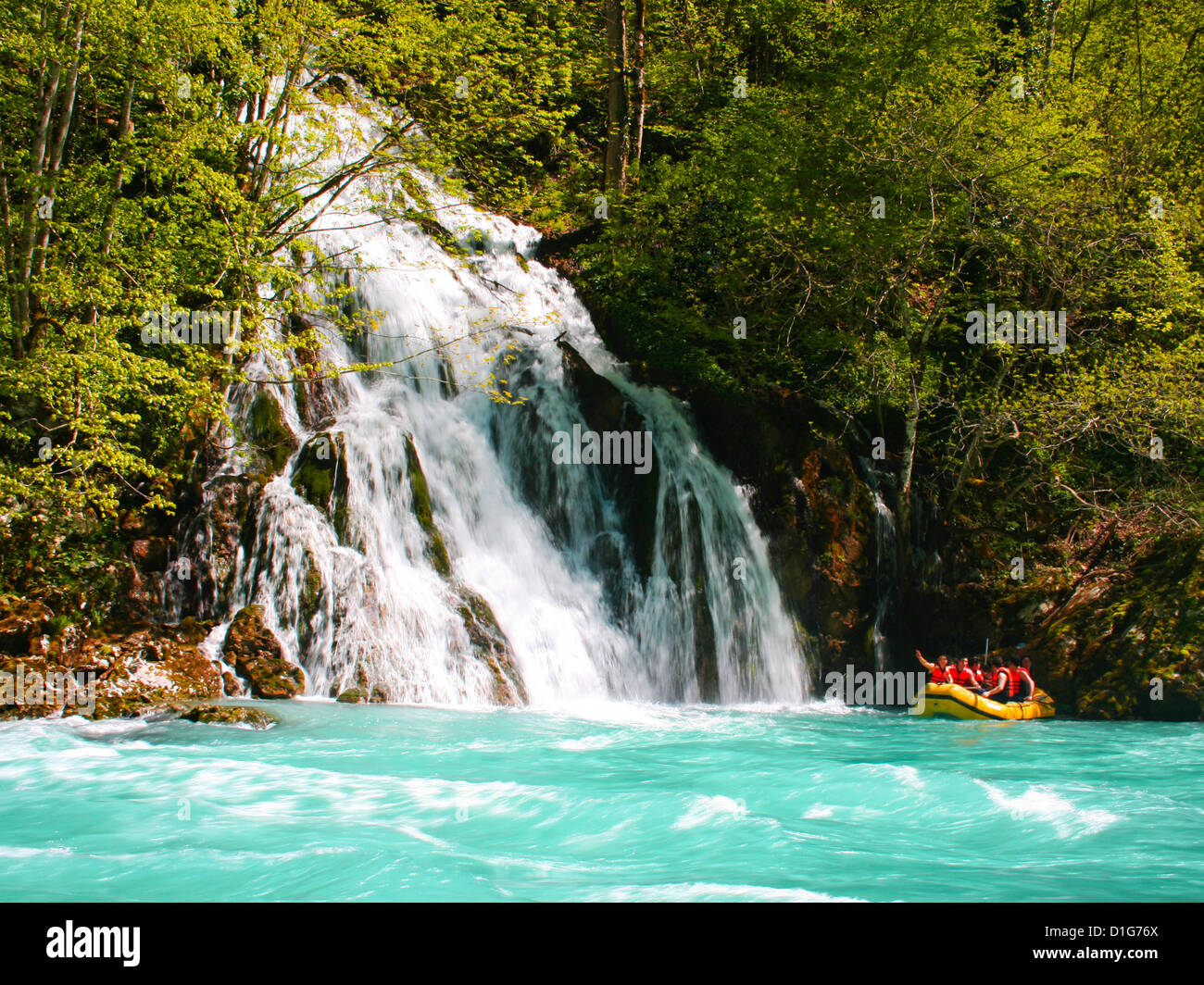 Rafting on river Tara in Montenegro - Stock Image