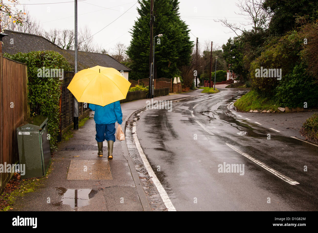 Woman with a Yellow Umbrella Walking in the Rain - Stock Image