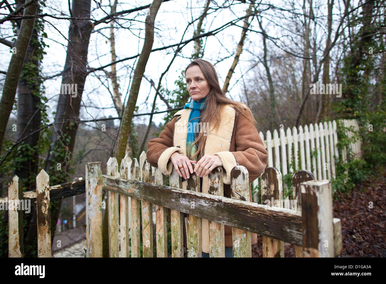 Vanessa Vine, 'No Fracking in Sussex' campaigner, photographed in Balcombe near the fracking site in Home - Stock Image