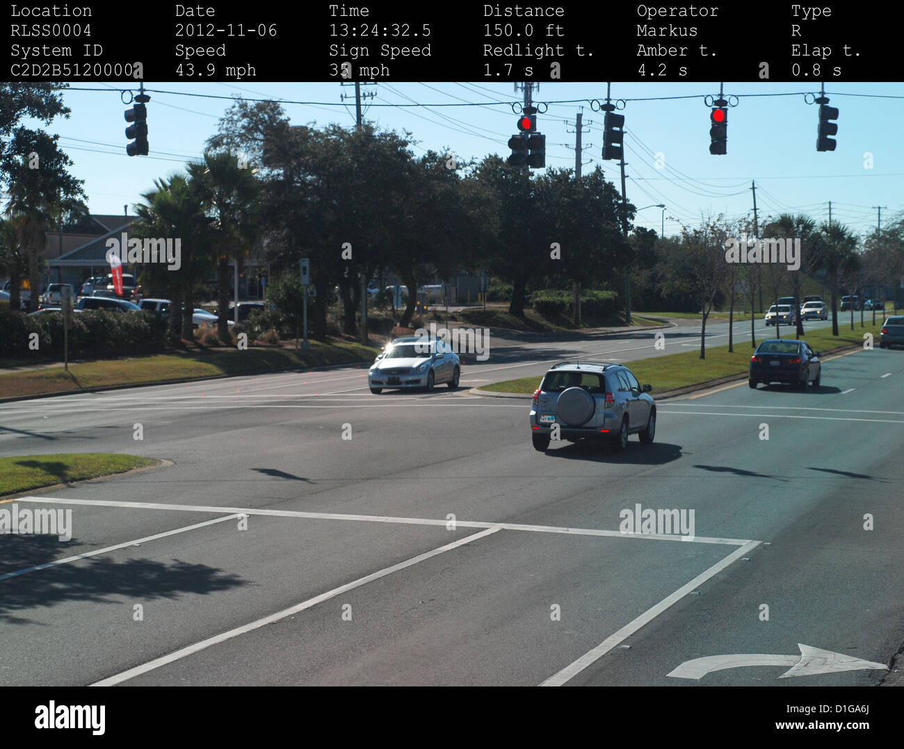 Gulf Breeze Police Department Traffic Camera Photographing A Silver Toyota  Rav4 Running A Red Light In Gulf Breeze, Florida.