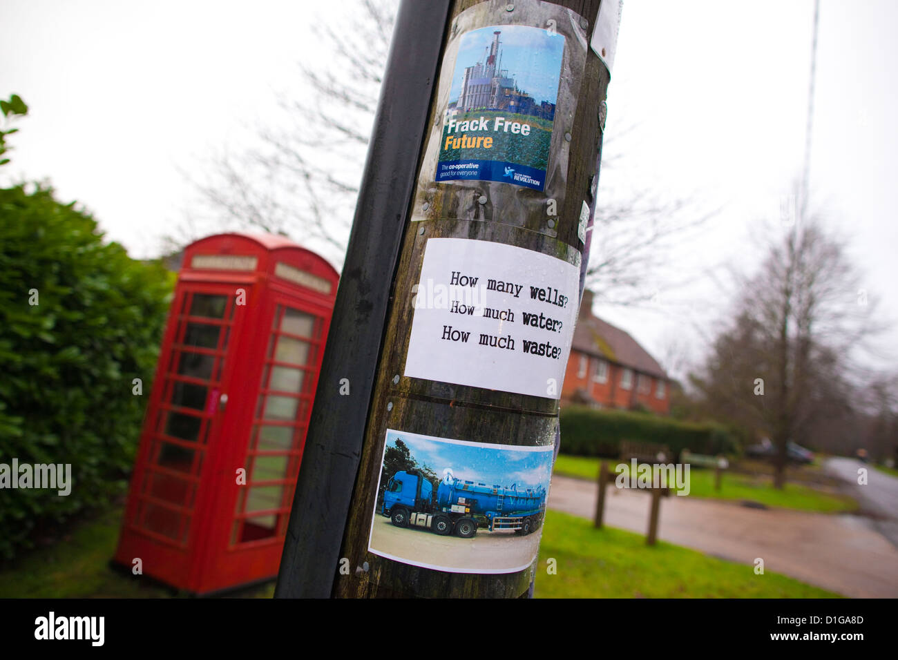 Anti-Fracking propaganda fixed to a lamp post in Balcombe, West Sussex, England, UK - Stock Image