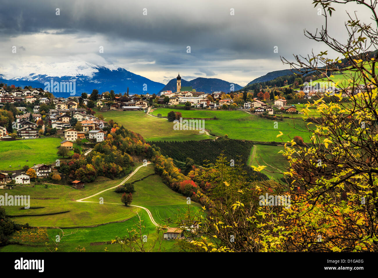 View of the landscape around Prösels Castle, Prösels, Fié allo Sciliar, Bolzano, Italy - Stock Image
