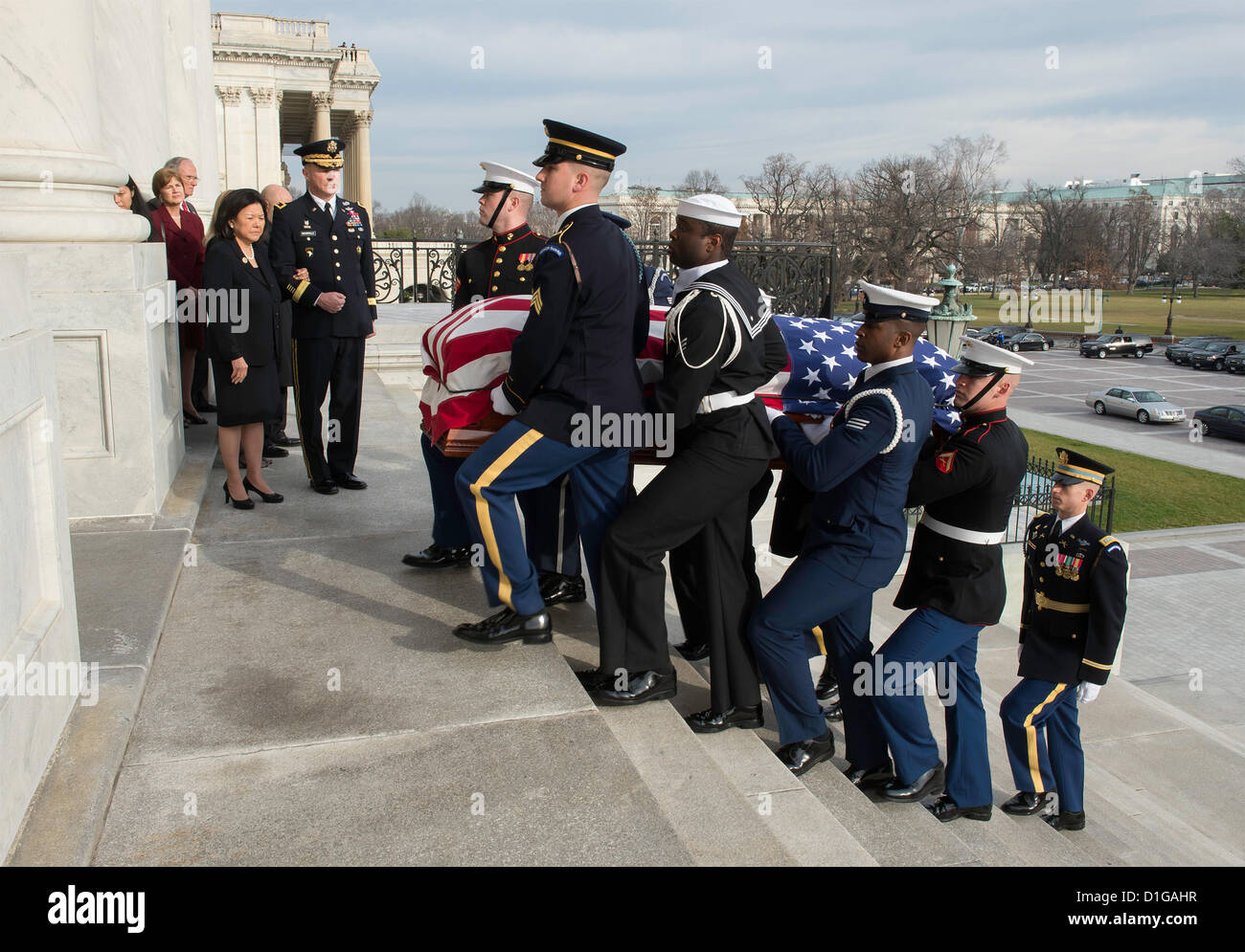 The flag wrapped casket of US Senator Daniel Inouye, the second-longest-serving senator in history is carried into - Stock Image