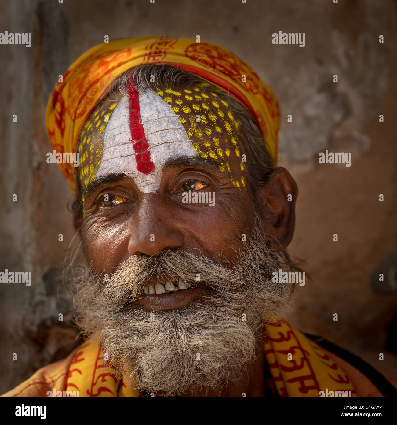 Portrait of a Sadhu, holy man, Pashupatinath, Kathmandu, Nepal - Stock Image