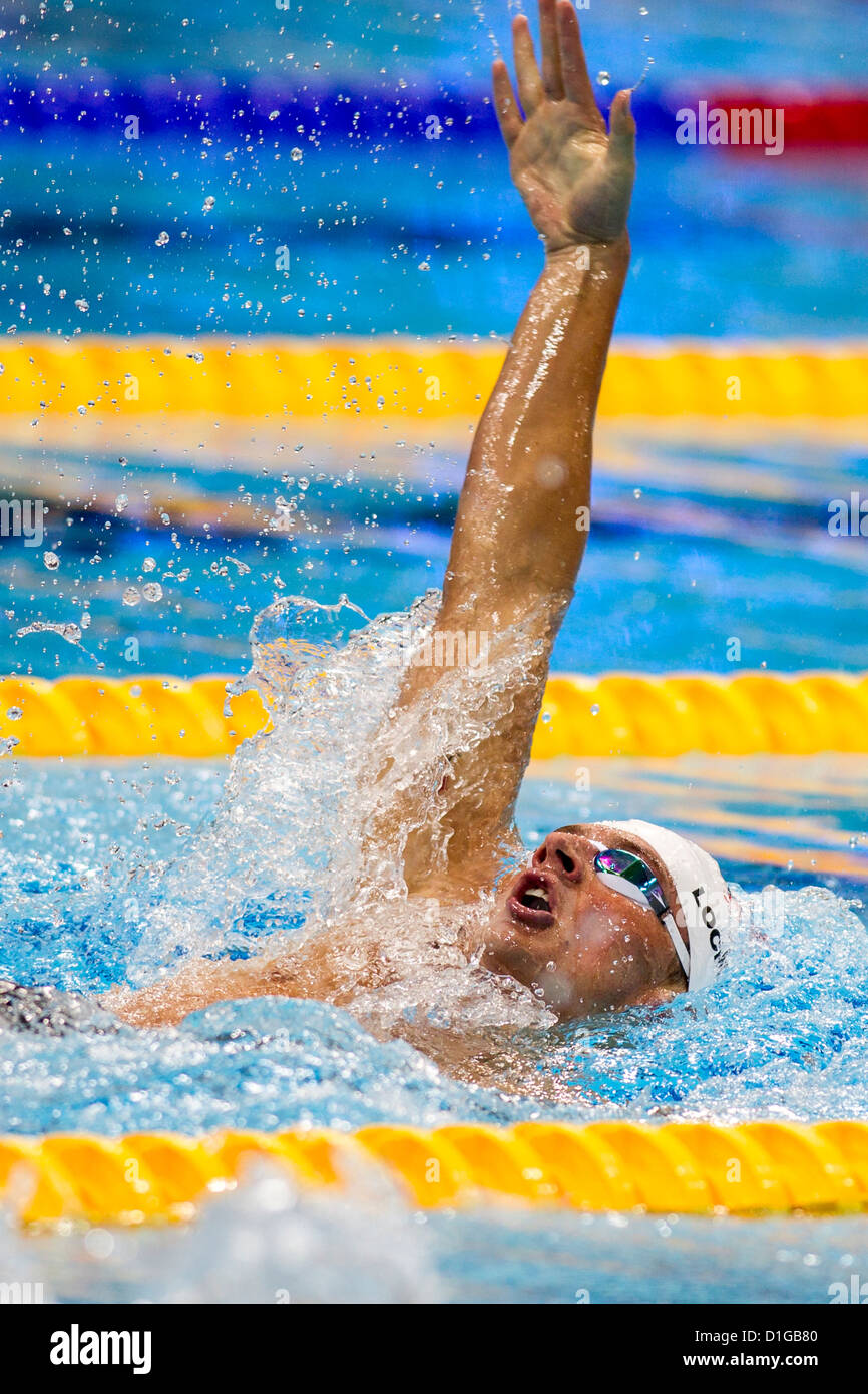 Ryan Lochte (USA) competing in the backstroke leg of the Men's 400m Individual Medley Heat at the 2012 Olympic - Stock Image