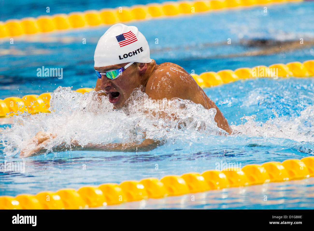 Ryan Lochte (USA) competing in the breaststroke leg of the Men's 400m Individual Medley Heat at the 2012 Olympic - Stock Image