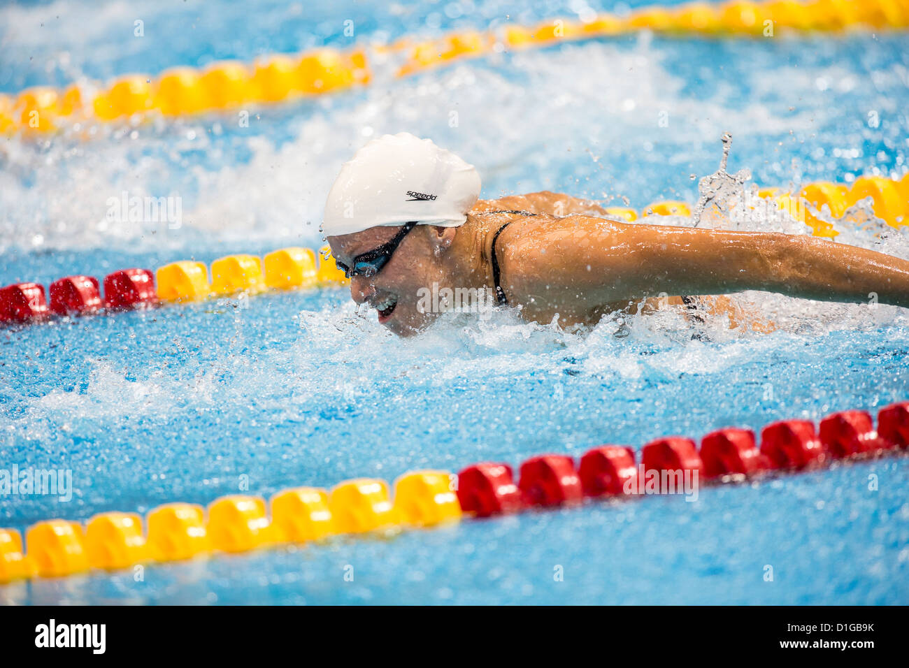 Dana Vollmer (USA) competing Women's 100m Butterfly Heat at the 2012 Olympic Summer Games, London, England. Stock Photo