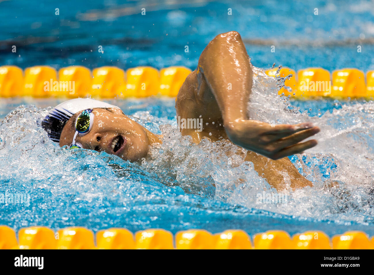 Taehwan Park (KOR) competing Men's 400m Freestyle Heat at the 2012 Olympic Summer Games, London, England. Stock Photo
