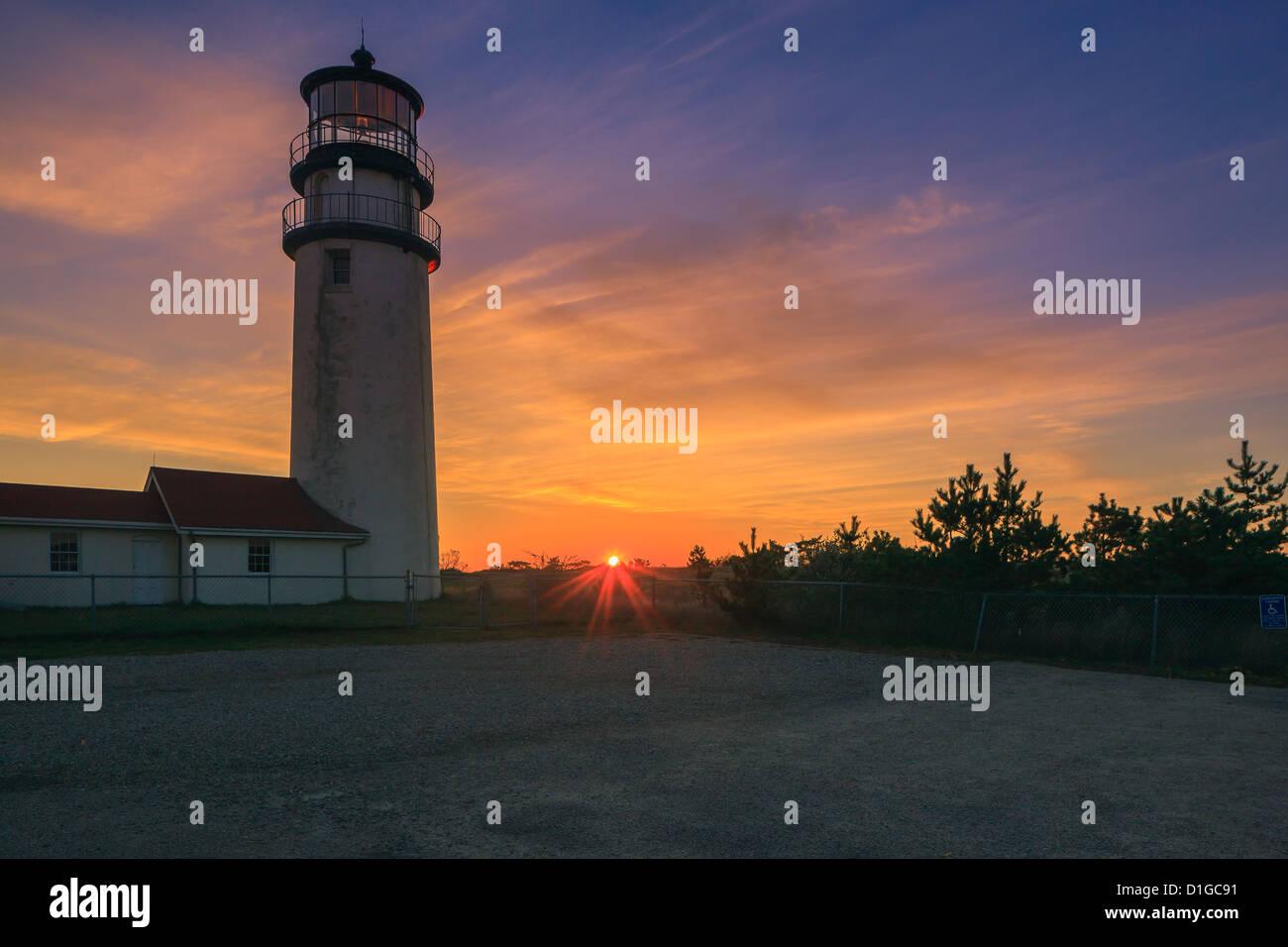 Cape Cod's oldest lighthouse, Highland Light at Truro. - Stock Image