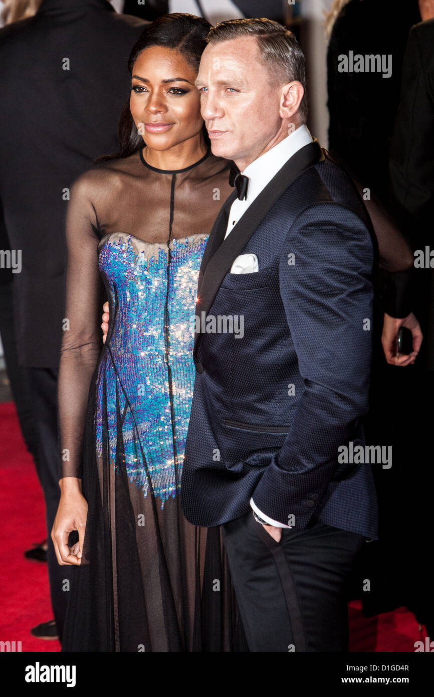Daniel Craig with Naomie Harris attends the Royal world premiere of 'Skyfall' at The Royal Albert Hall, - Stock Image