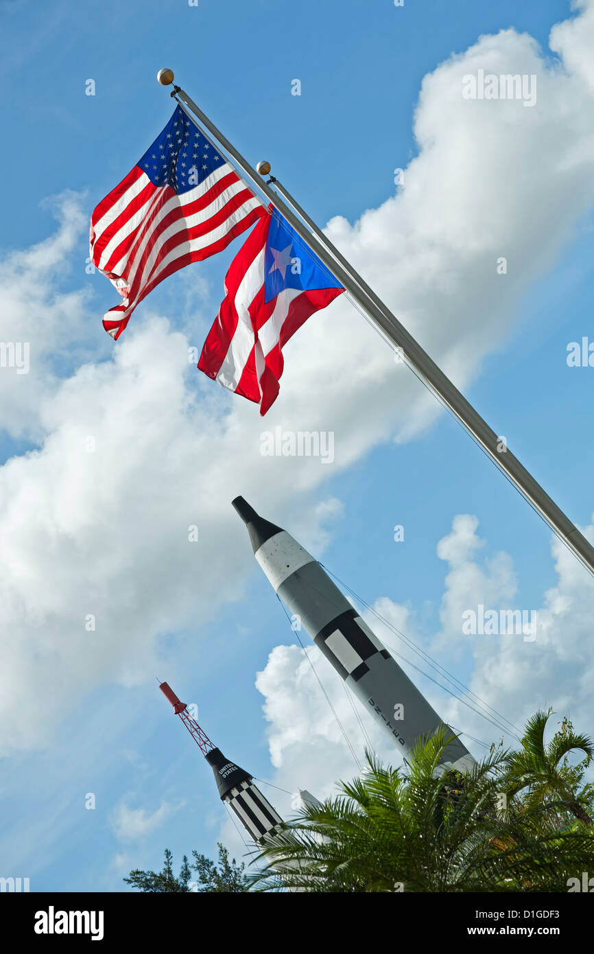 Flags and rockets, Luis A. Ferré Science Park, Bayamón, Puerto Rico - Stock Image