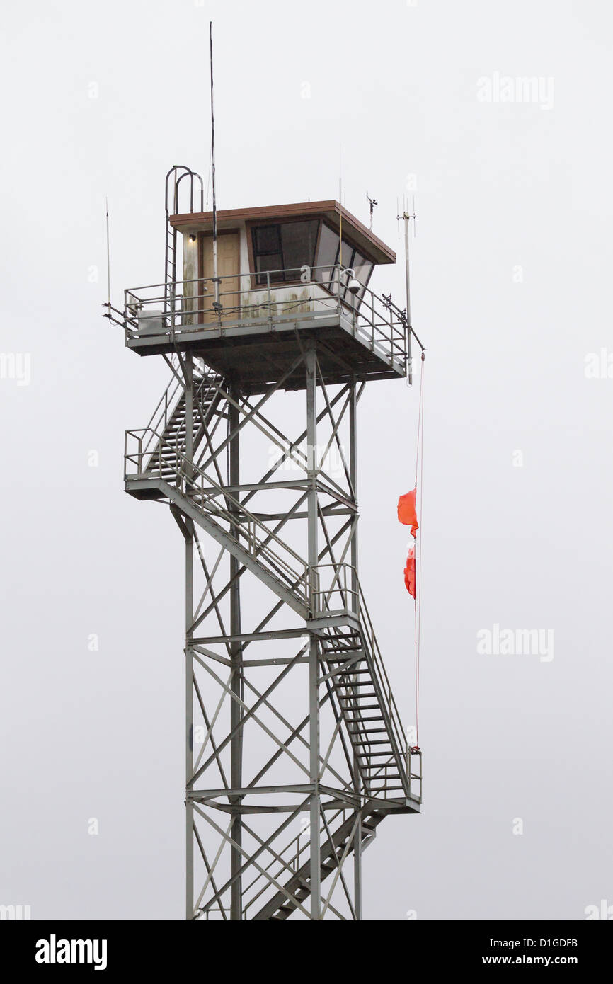 Gale Warnings Flags on Observation Tower, Westport, Washington - Stock Image