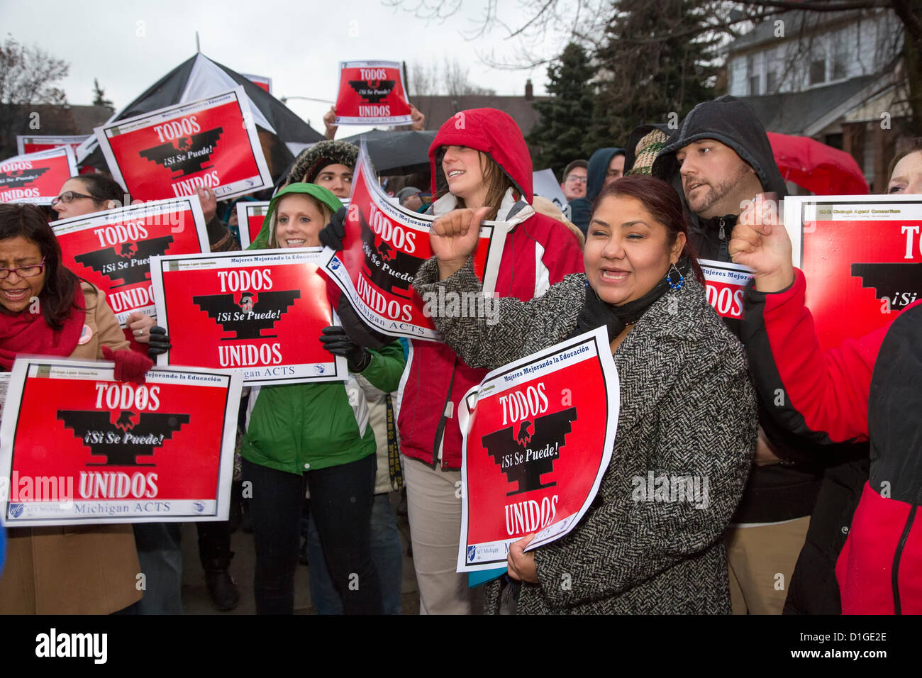Detroit, Michigan - Teachers and parents at the Cesar Chavez Academy rally in support of a union organizing campaign - Stock Image
