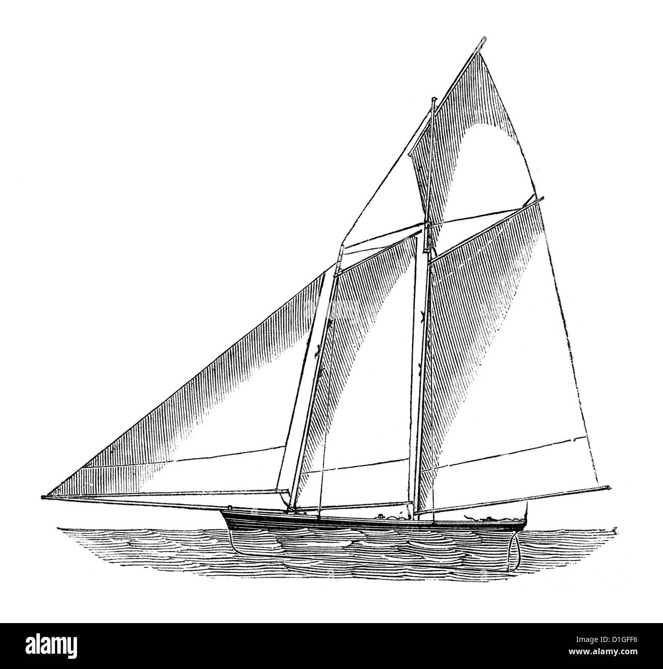 Antique Woodcut image circa 1872 fine line drawing vintage artwork two masted schooner sailboat Stock Photo
