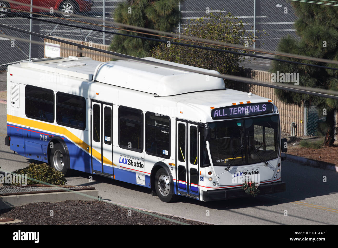 LOS ANGELES, CALIFORNIA, USA - DECEMBER 11, 2012 - A North American Bus Industries (NABI) natural gas powered shuttle - Stock Image